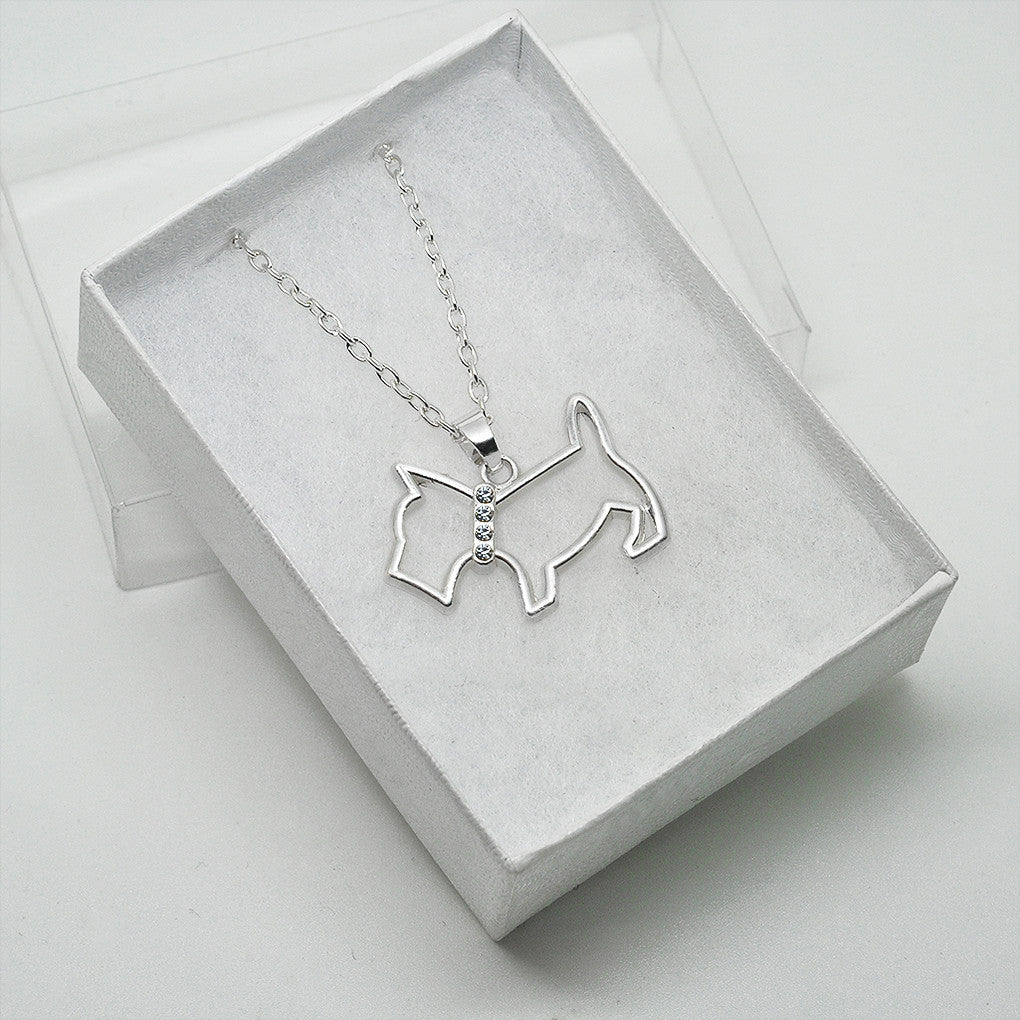 Katie's Style Cute Rhinestone Crystal Scottish Terrier Open Dog Pet Lover Pendant Necklace Jewelry Gift