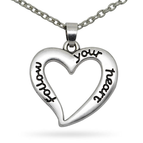 Katie's Style Follow Your Heart Message Fashion Pendant Necklace