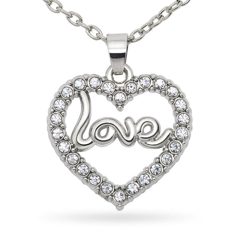 Katie's Style Open Heart Rhinestone Crystal Love Message Fashion Pendant Necklace