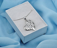 Katie's Style Mother and Child Set of Footprints Message Mom Pendant Necklace