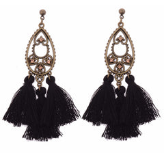 Katie's Style Antiqued Vintage Crystal Fringe Drop Tassel Dangle Statement Earrings - Black