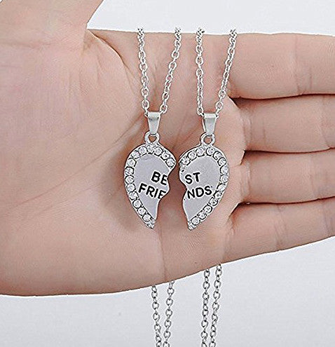 Katies style best friends crystal split heart girls 2 piece katies style best friends crystal split heart girls 2 piece message pendant necklace set mozeypictures Image collections