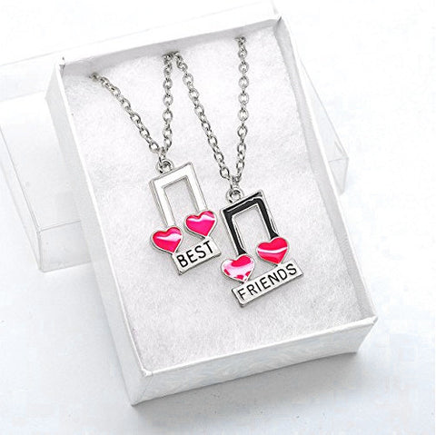 Katie's Style Best Friends Music Notes and Heart Girls 2-Piece Message Pendant Necklace Set