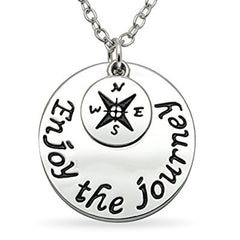 Katie's Style Enjoy The Journey Compass Encouragement Sentiment Message Charm Pendant Necklace