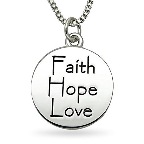 Katies style faith hope love inspirational courage sentiment katies style faith hope love inspirational courage sentiment message reversible pendant necklace aloadofball Image collections