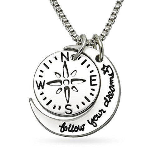 Katie's Style Follow Your Dreams Inspirational Courage Sentiment Message Pendant Necklace