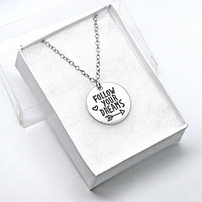 Katie's Style Follow Your Dreams Sentiment Courage Message Graduation Pendant Necklace
