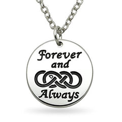 Katie's Style Forever and Always Double Infinity Lover Sentiment Message Charm Pendant Necklace