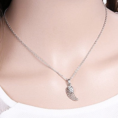 Katie's Style Guardian Angel Filigree Wing Crystal Inspirational Fashion Pendant Necklace