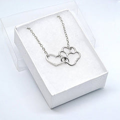 Katie's Style Interlocking Open Heart and Dog Paw Pet Animal Lover Pendant Necklace