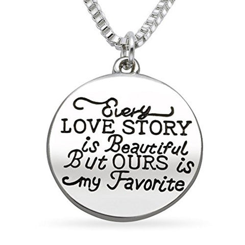 Katie's Style LOVE STORY Message Lover Sentiments Round Tag Fashion Pendant Necklace