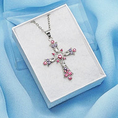 Katie's Style Passionate Pink Crystal Religious Cross Vintage Pendant Necklace Jewelry Gift
