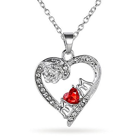 Katie's Style Unconditional Love Crystal Mom Rose Heart Pendant Necklace Jewelry Gift
