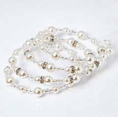 Katie's Style Silvertone Bridal 4-Row Wraparound Coil Simulated Pearl and Crystal Bead Stretch Bracelet
