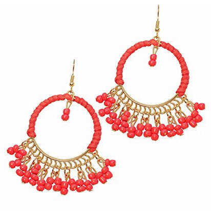 Katie's Style Eye Candy Vibrant Color Resin Bead Drop Hoop Fashion Statement Tassel Dangle Earrings