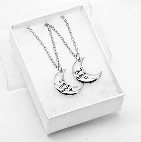 Katie's Style To The Moon And Back Couple Lover 2-Piece Message Pendant Necklace Set
