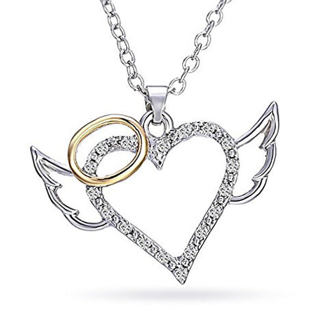 Katie's Style Two Tone Guardian Angel Wings and Heart Crystal Fashion Pendant Necklace