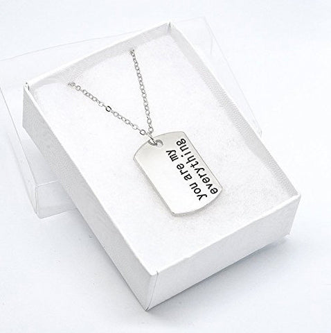 Katie's Style You Are My Everything Message Lover Sentiments Dog Tag Fashion Pendant Necklace