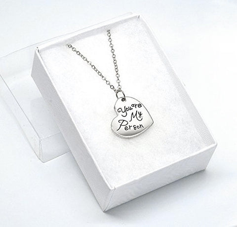 Katie's Style You Are My Person Message Lover Sentiments Heart Tag Fashion Pendant Necklace