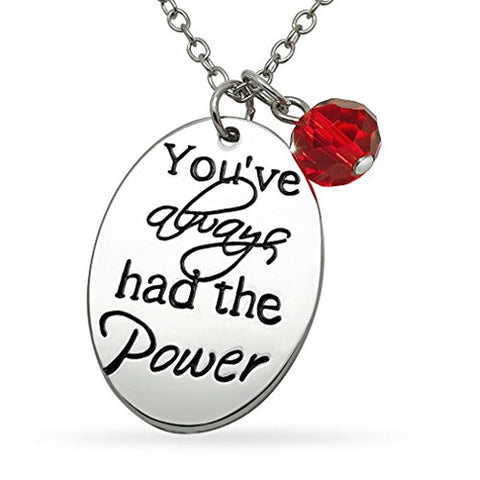 Katie's Style You've Always Had The Power Sentiment Message Red Crystal Bead Charm Pendant Necklace