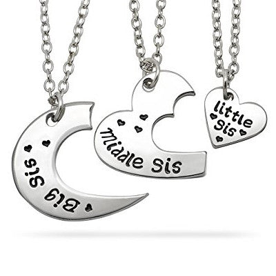 Katies Style Sisters Heart Big Sis Middle Sis Lil Sis Necklace Set 3 Pieces Best Friends Girls Jewelry Gift