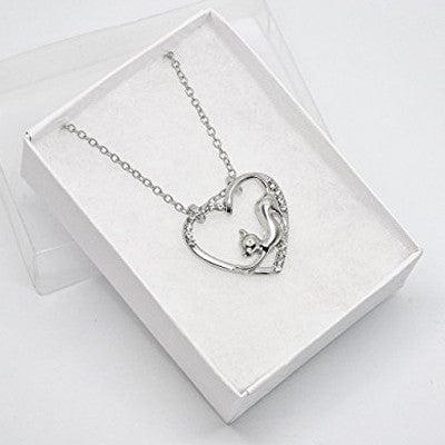 Katie's Style Stretching Kitty Crystal Cat Women Fashion Open Heart Pendant Necklace Jewelry Gift