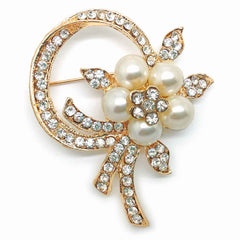 Katie's Style Simulated Faux Pearl Rhinestone Flower Wedding Brooch Pin