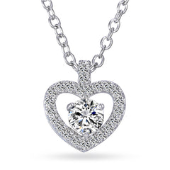 Katie's Style Delight of Love Open Heart Round Cubic Zirconia Pendant Necklace