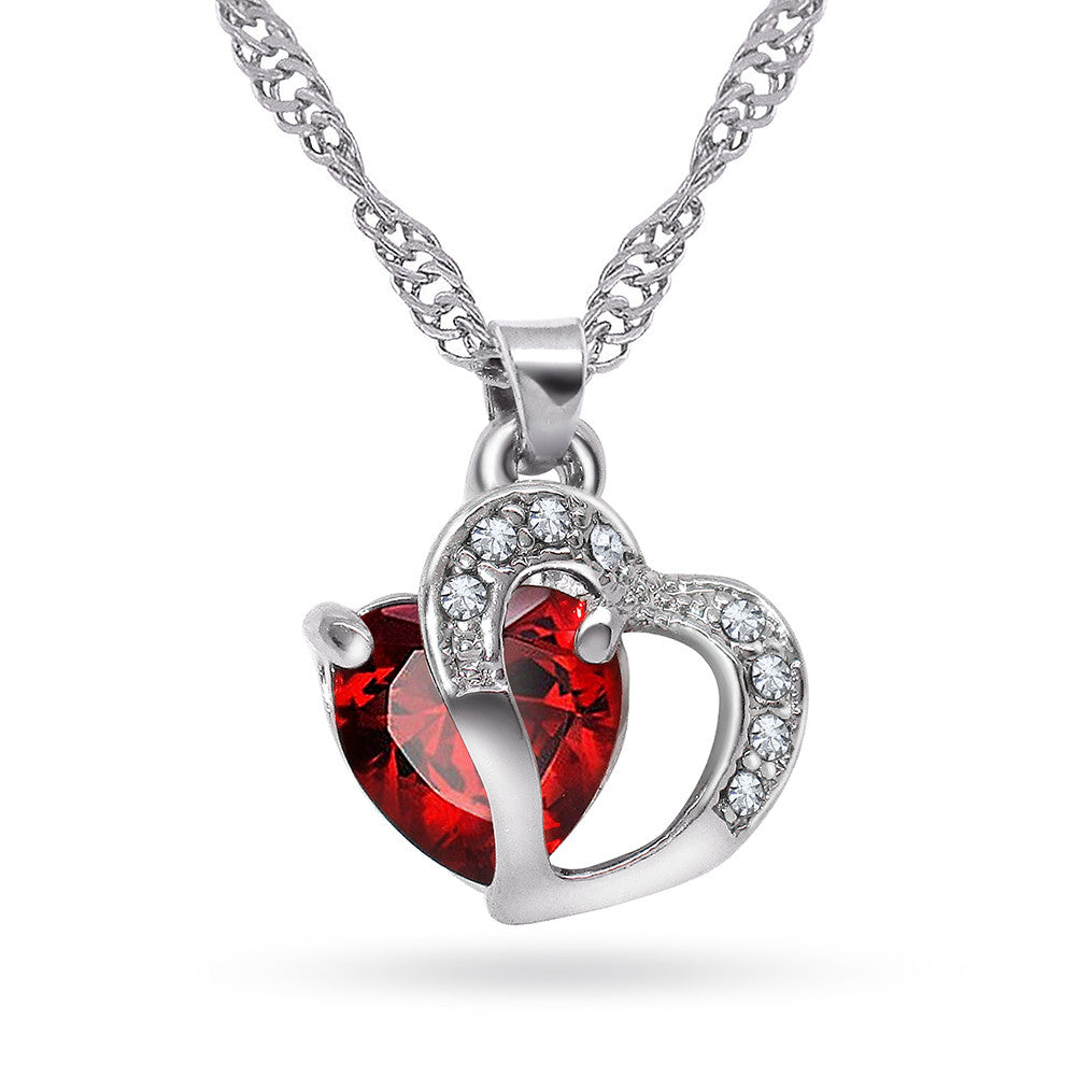 Katie's Style Eternal Love Red Rhinestone Crystal Double Heart Pendant Necklace