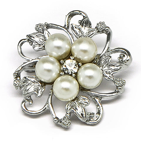 Katie's Style Simulated Faux Pearl Rhinestone Flower Mini Corsage Wedding Brooch Pin Jewelry Gift