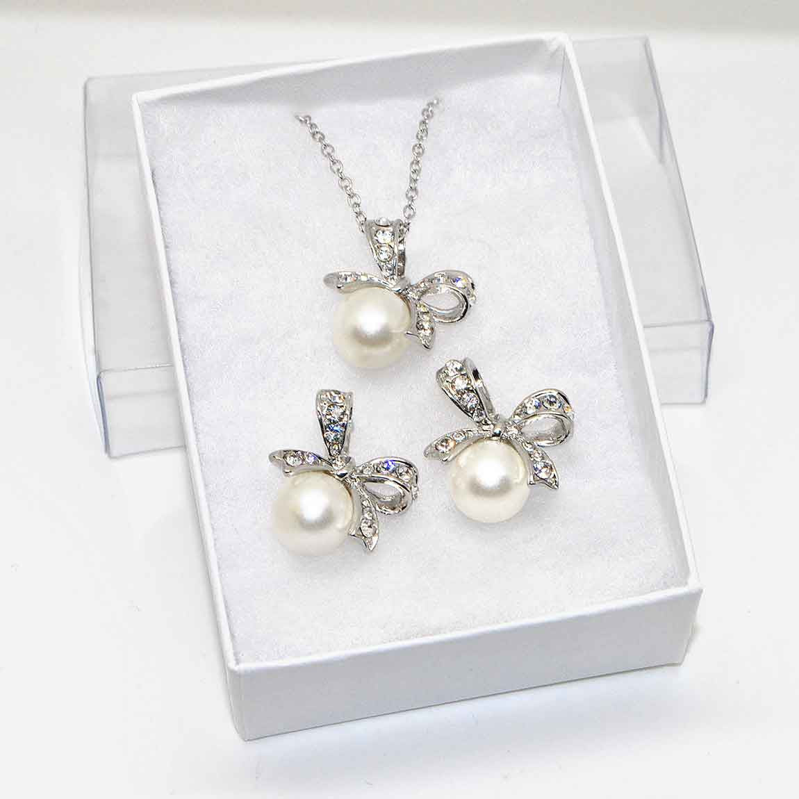 Katie's Style Simulated Pearl Crystal Bow Ribbon Pendant Necklace Earrings Set