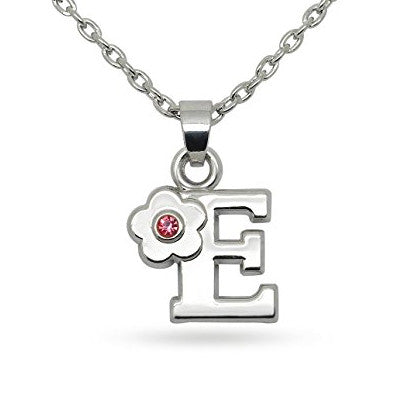 Katie's Style Pink Crystal Flower Letter Initial Alphabet E Fashion Pendant Necklace