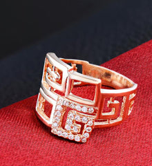 Katie's Style Rose Goldtone Cubic Zirconia CZ Art Deco Geometric Women Fashion Cocktail Ring