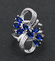 Katie's Style Infinity Cubic Zirconia Flower Royal Blue CZ Women Fashion Cocktail Statement Ring