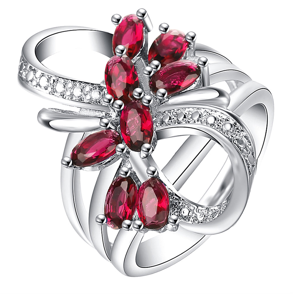 Katie's Style Infinity Cubic Zirconia Flower Red CZ Women Fashion Cocktail Statement Ring
