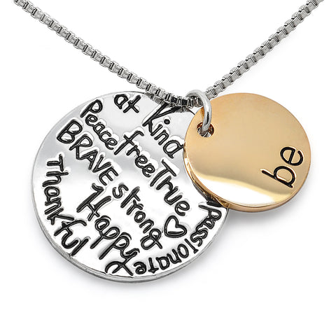 Katie's Style Be Kind Brave Strong True Happy Thankful Compassionate Peace Message Pendant Necklace