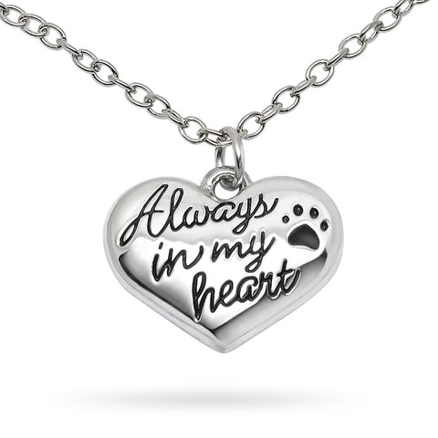 Katie's Style Always in My Heart Paw Cat Dog Pet Lover Message Pendant Necklace