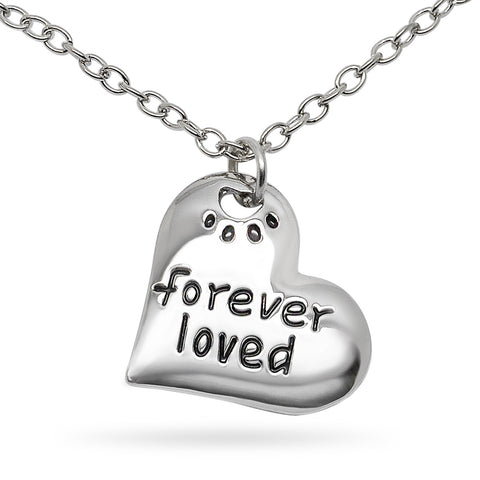 Katie's Style Forever Loved Paw Cat Dog Pet Lover Sentiments Message Heart Pendant Necklace