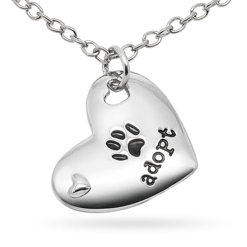 Katie's Style Adopt Paw Cat Dog Pet Lover Sentiments Message Heart Pendant Necklace