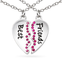 Katie's Style Pink Crystal Best Friends Split Heart Girls 2-Piece Message Pendant Necklace Set