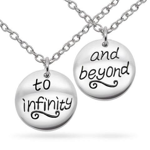 Katie's Style To Infinity and Beyond 2-Piece Lover BFF Sentiments Round Tag Pendant Necklace Set