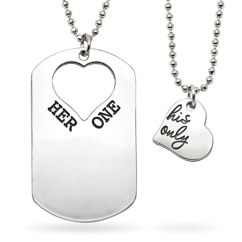 Katie's Style Her One and His Only Heart and Dog Tag 2-Piece Lover Message Couple Pendant Necklace Set