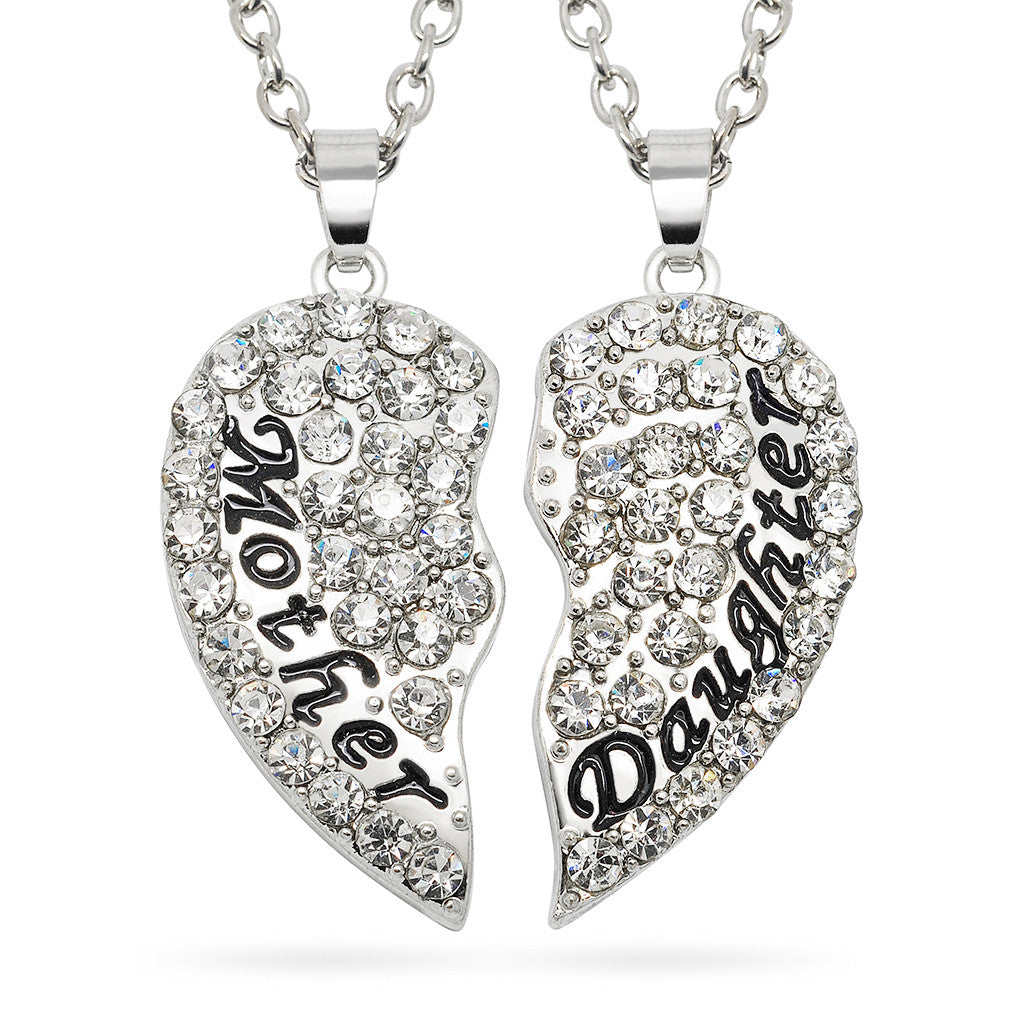 Katie's Style Mother Daughter Crystal Split Heart 2-Piece Family Sentiments Message Pendant Necklace Set