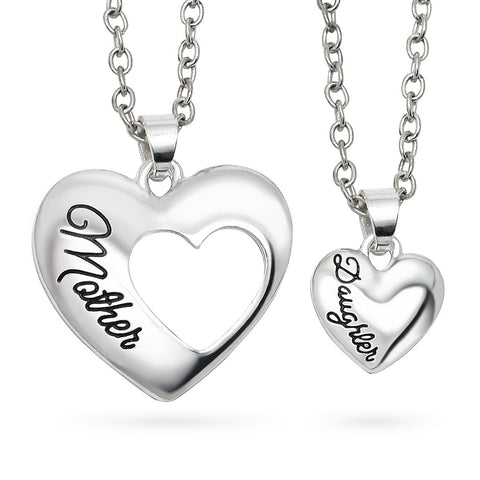 Katie's Style Mother Daughter 2-Piece Heart Family Sentiments Message Pendant Necklace Set