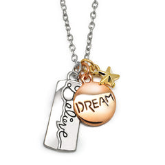 Katie's Style Believe DREAM Inspirational Message Sentiments Three Tone Charm Pendant Necklace