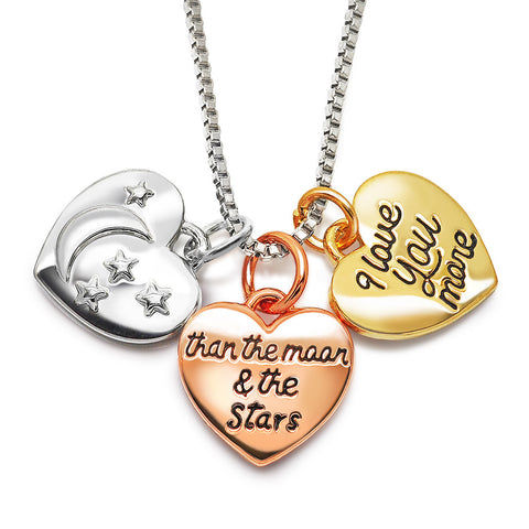 Katie's Style I Love You More Than The Moon and The Stars Message 3 Tone Heart Charm Pendant Necklace