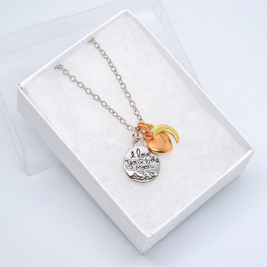 Katie's Style I Love You To The Moon And Back Message Sentiments Three Tone Charm Pendant Necklace