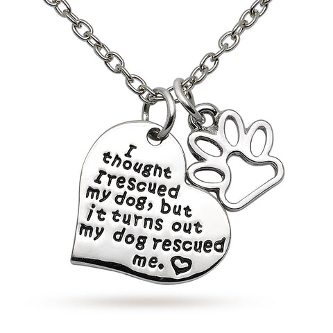 Katie's Style My Dog Rescued Me Cat Dog Paw Pet Lover Sentiments Message Pendant Necklace