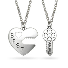 Katie's Style BEST FRIENDS 2-Piece BFF Sentiments Heart and Key Message Pendant Necklace Set