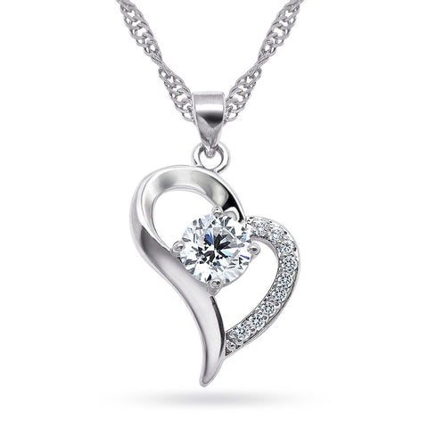 Katie's Style Forever in Love Open Heart Round Cubic Zirconia Pendant Necklace